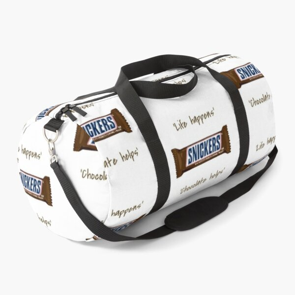 Life happens. Chocolate helps. Snickers Version Duffle Bag