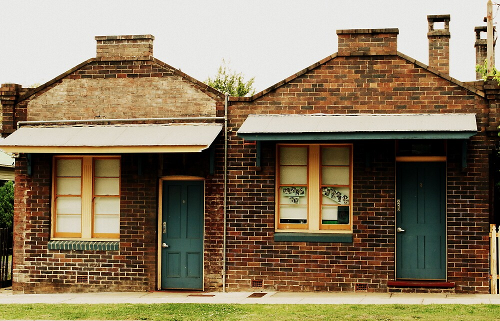 Two Little Cottages Sitting In A Row by tamaramae
