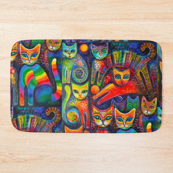 Rainbow cats acrylics Bath Mat