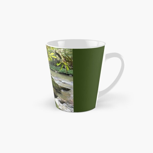 Gently Flowing River with Mossy Rocks Tall Mug