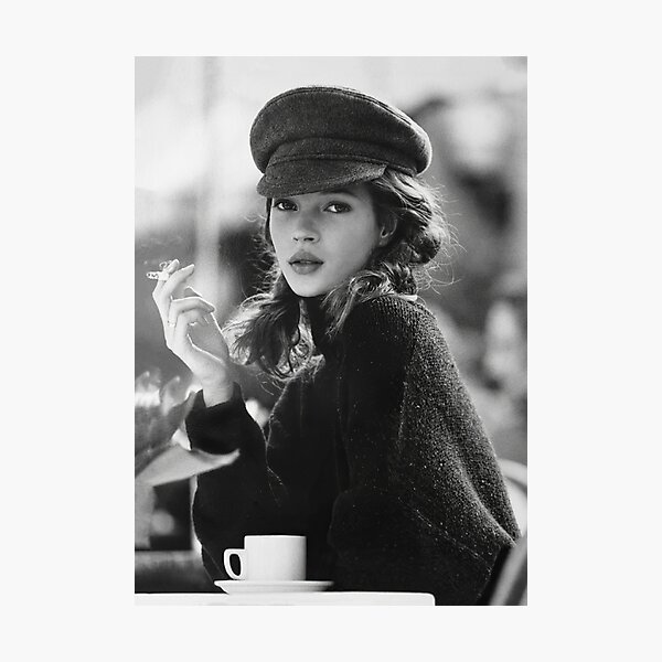 Kate Moss at Cafe, Black and White Vintage Art Photographic Print