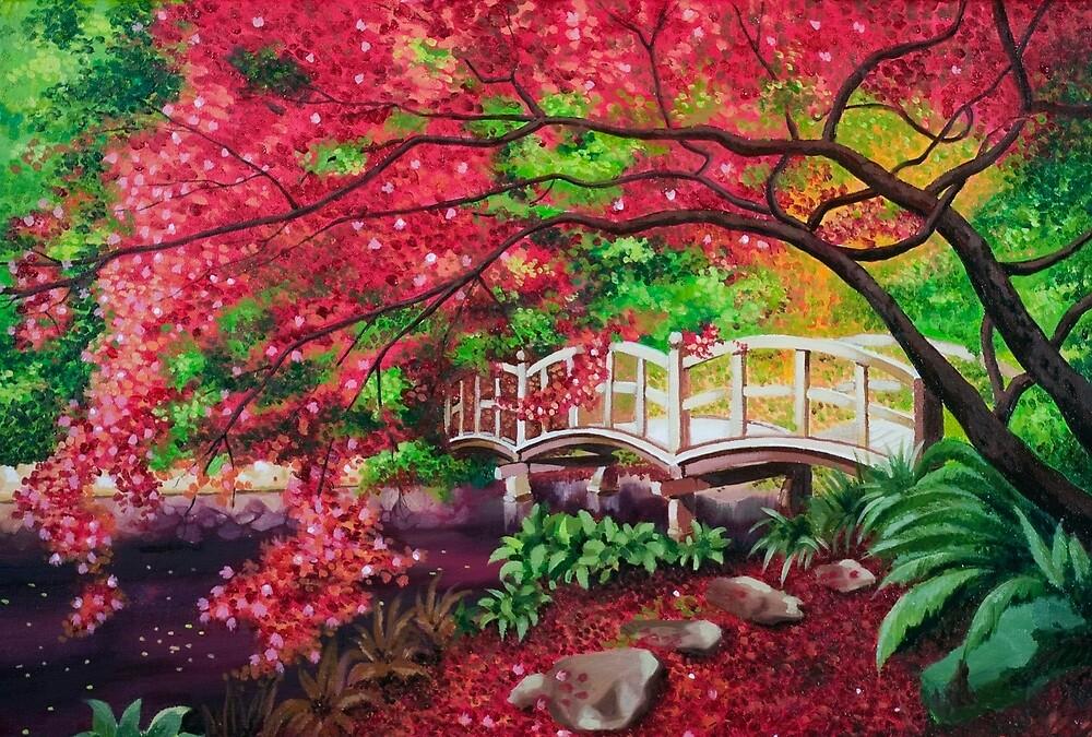 Enchanted garden with bridge by Luigi Maria De Rubeis