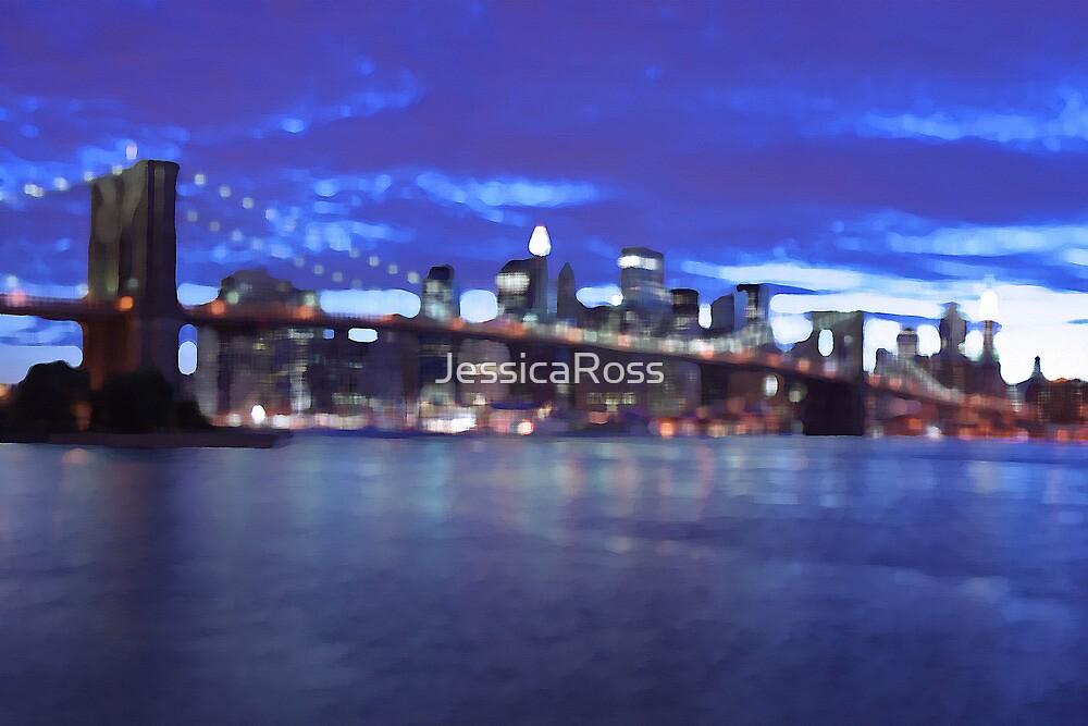 New York City Skyline Blue by JessicaRoss