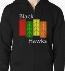 Black Hawks (reverse colors) Zipped Hoodie