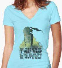 The way is shut. Women's Fitted V-Neck T-Shirt