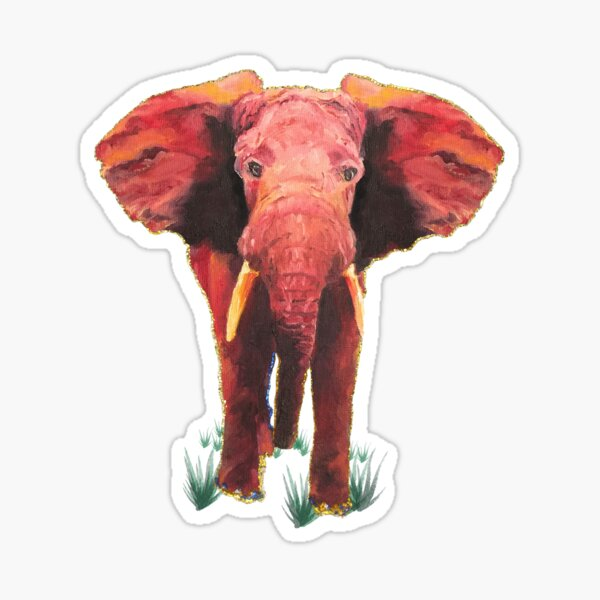 Defiant Elephant, Oil Painting, Digital Art Sticker