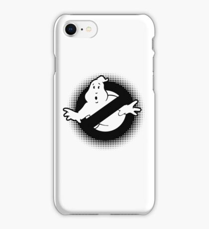 Original Ghostbusters Halftone Logo (in black and white) iPhone Case/Skin