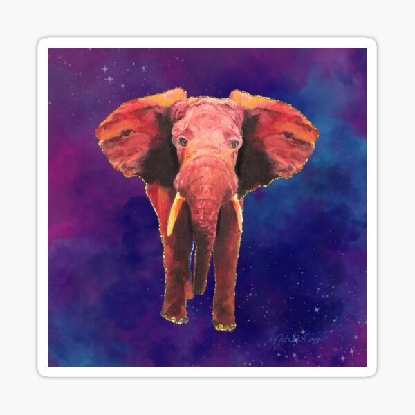 Elephant Dream, Smokey Stars, Sparkles, Fantasy, Oil Painting, Digital Art Sticker