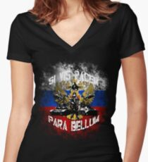 Si vis pacem para bellum russia w. white font Women's Fitted V-Neck T-Shirt