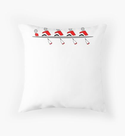 Rowing - 4+, red & black, light background Throw Pillow