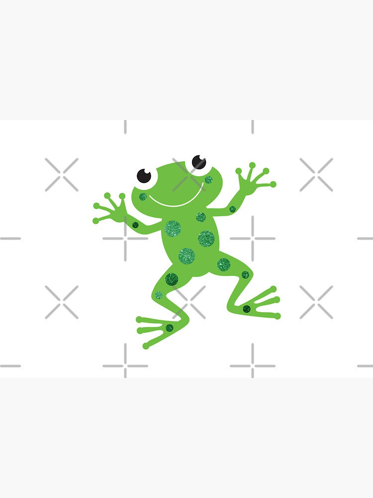 Cute Sparkly Dancing Green Frog by VicEllisArt