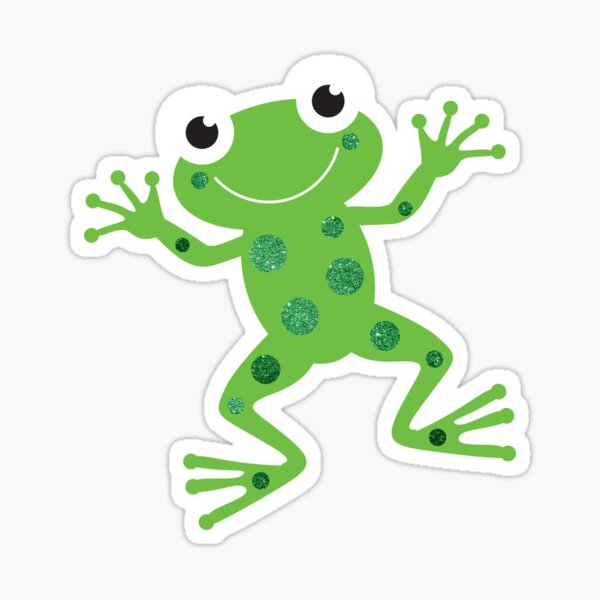 Cute Sparkly Dancing Green Frog Sticker