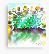 Yellow flowers in sun with water reflection Canvas Print