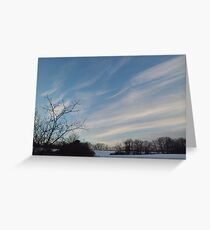 Winter - Evening Sky, Great Meadow Greeting Card