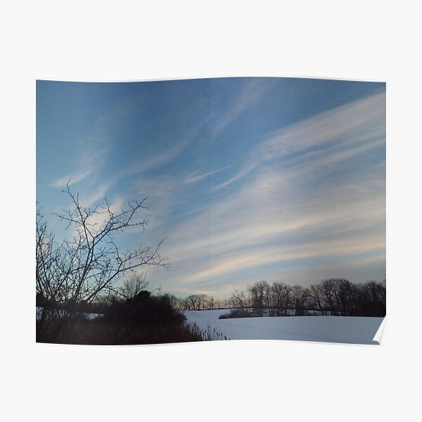 Winter - Evening Sky, Great Meadow Poster