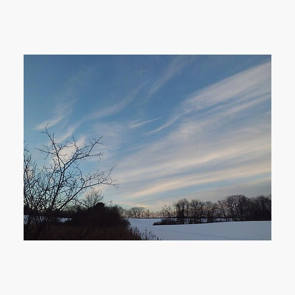 Winter - Evening Sky, Great Meadow Photographic Print