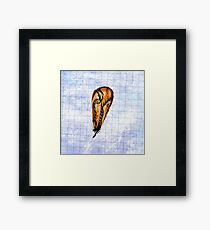 Brown Feather On Graph Framed Print