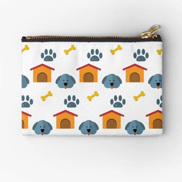 Cute Happy Smiling Puppy Dog Foot Steps With Kennel Digital Art Animal Pattern Design Zipper Pouch