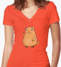 GroundHog Kawaii Women's Fitted V-Neck T-Shirt