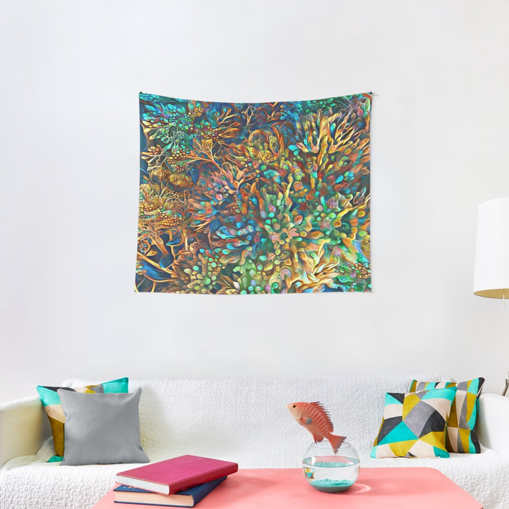Fantasy floral abstract digital painting Tapestry