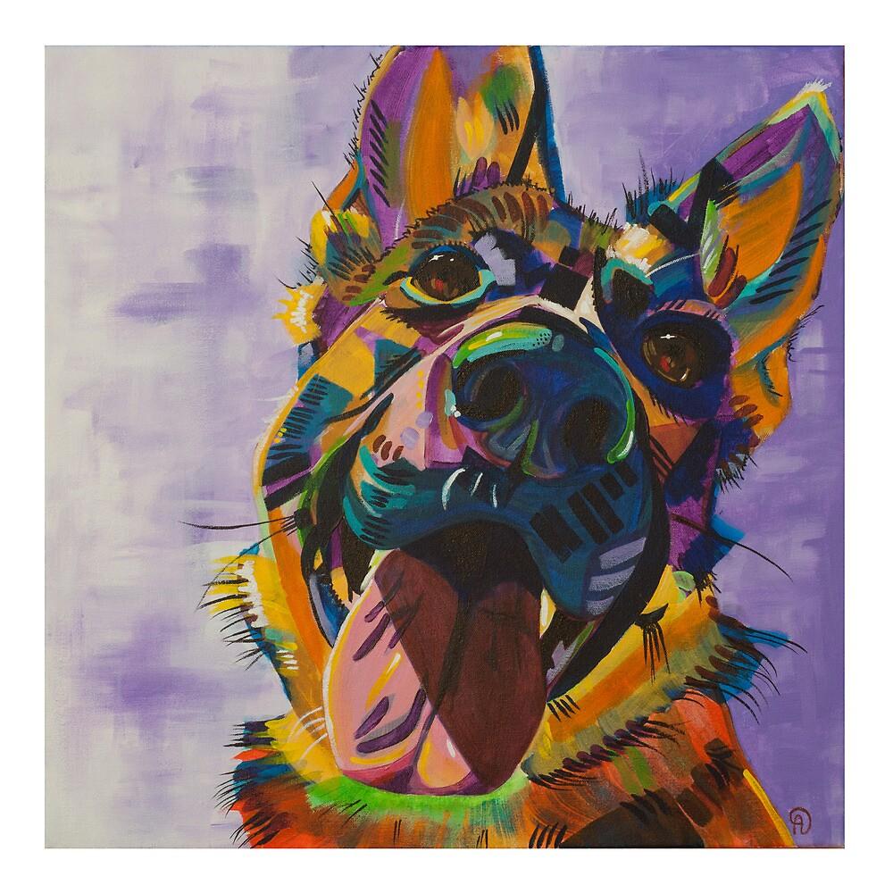 German Shepherd Pup Art by alewispaintings