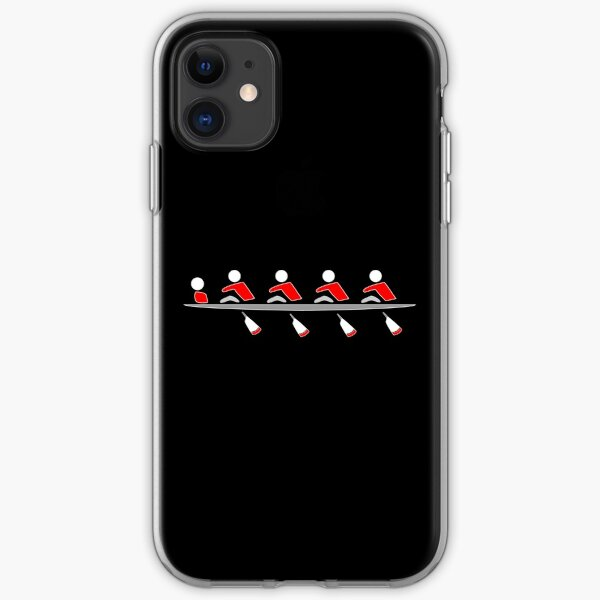 Rowing - 4+, red & black, dark background iPhone Soft Case