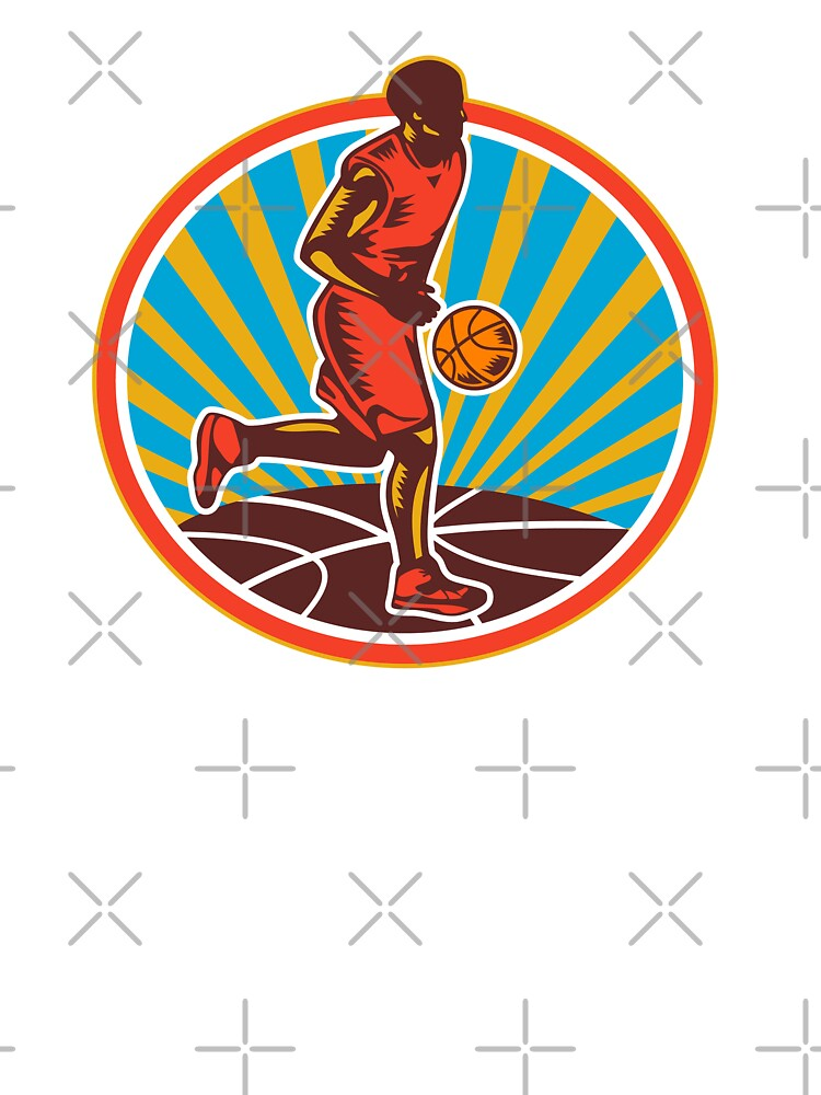 Basketball Player Dribbling Ball Woodcut Retro by patrimonio