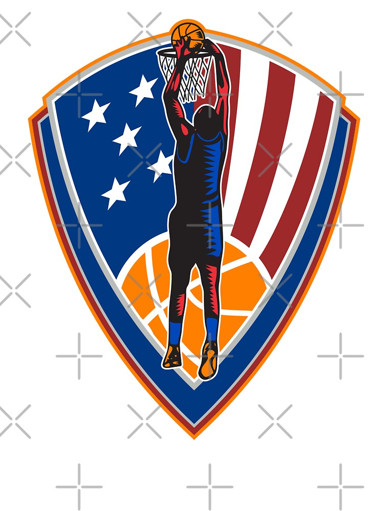 American Basketball Player Dunk Ball Shield Retro by patrimonio