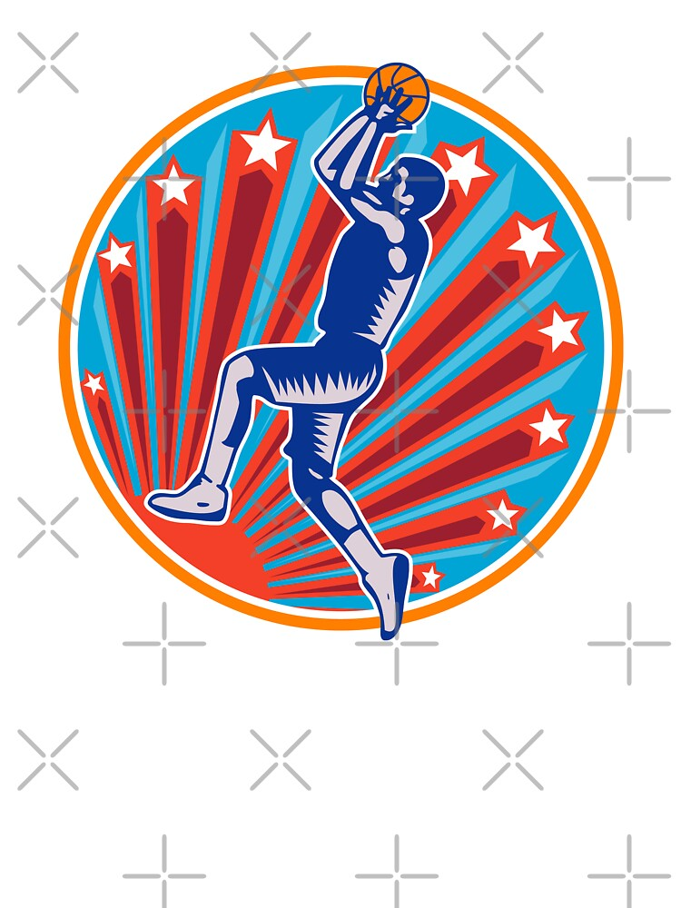 Basketball Player Jump Shot Ball Circle Woodcut retro by patrimonio