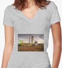 Santa Monica Pier  Women's Fitted V-Neck T-Shirt