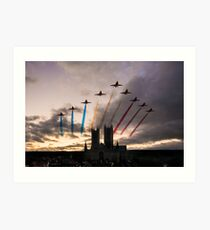 Red Arrows over Lincoln Cathedral Art Print