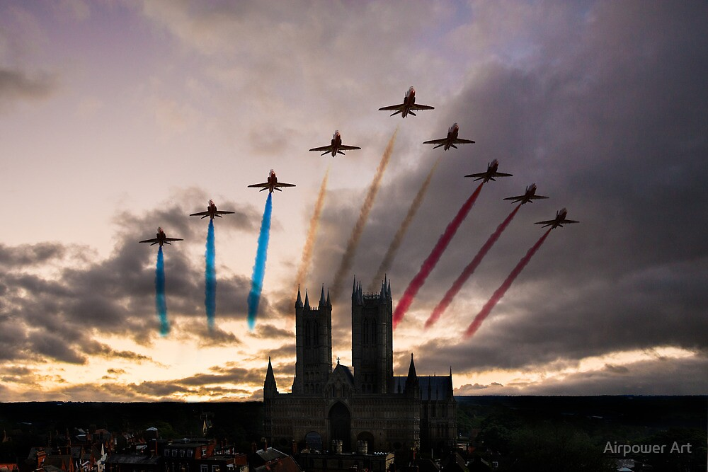 Red Arrows over Lincoln Cathedral by Airpower Art