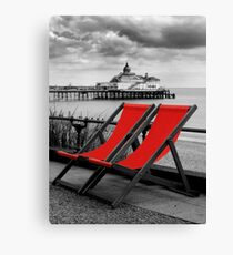 Pier and deckchairs Canvas Print