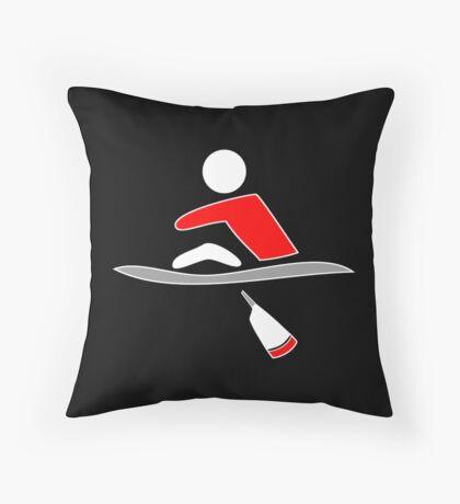 Rowing - single, red & black, dark background Throw Pillow