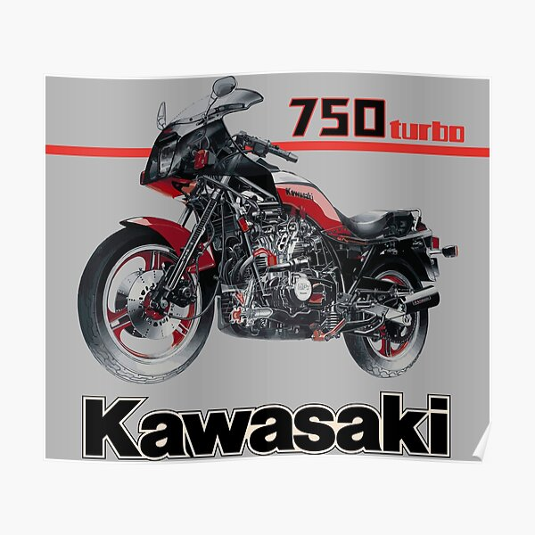 Kawasaki GPZ 750 turbo legendary motorcycle illustration with engine cross section see trough  Poster