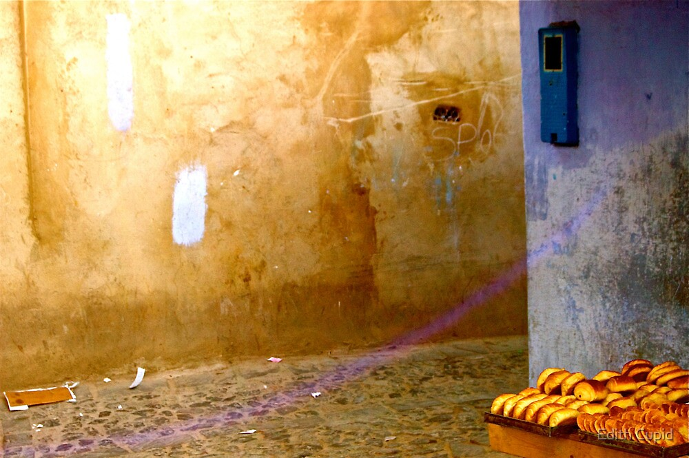 WARM BREAD IN LIGHT BLUE AND BROWN SQUARE!!! Morocco   by Beatrice Cupido