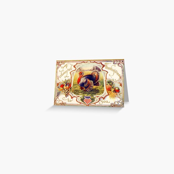 Vintage Happy Thanksgiving Turkey  Greeting Card