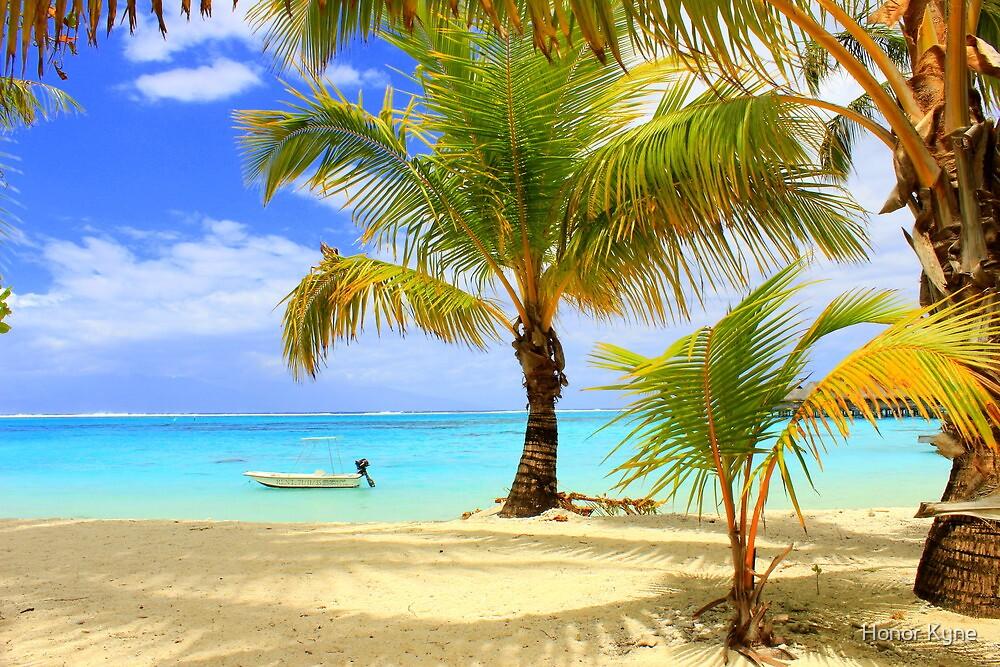 Moorea Beach, Boats and Palms by Honor Kyne