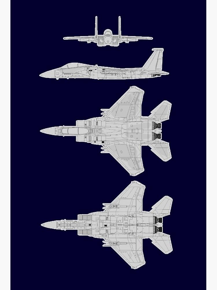 F15. AMERICAN FIGHTER JET. Schematic diagram of F-15.