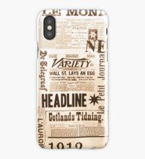 A vintage old news paper print typography  iPhone Case/Skin