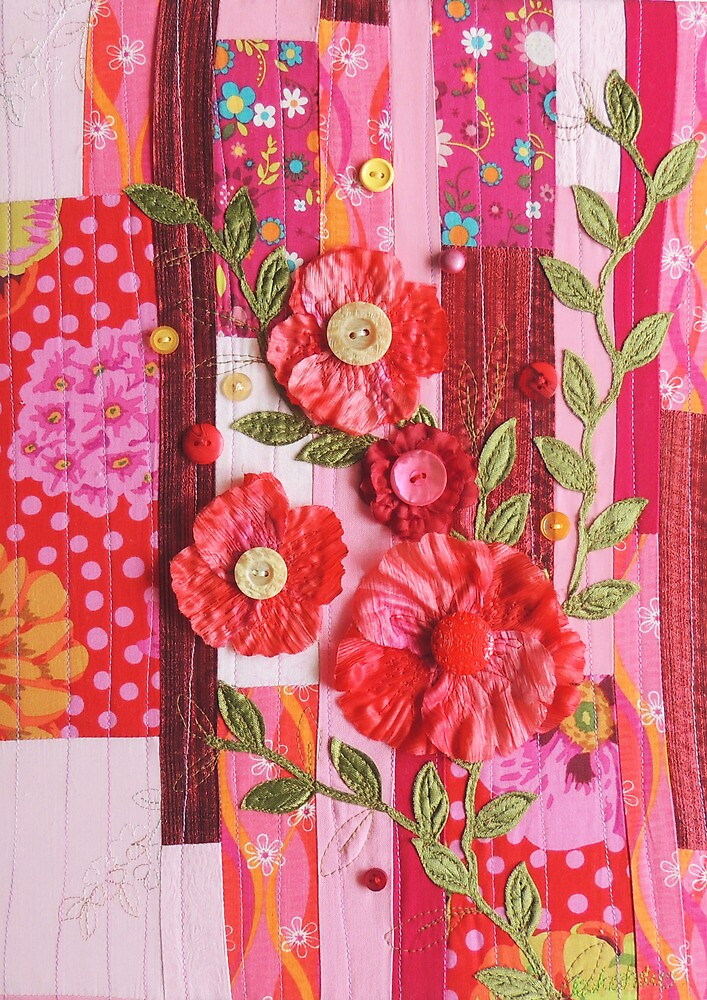 Textile wall art Red roses, patchwork fabric by Bekahdu