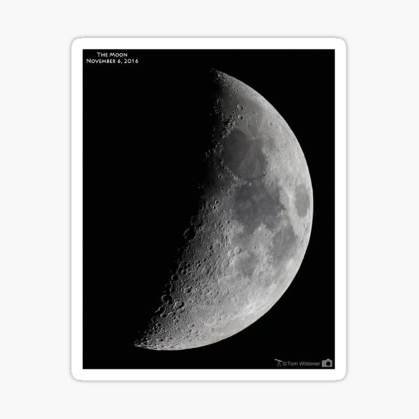 """Quarter moon or half moon?  People sometimes look up and say: """"Is that a half moon in the sky?""""  Sticker"""