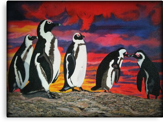 African Penguins by Myartscape