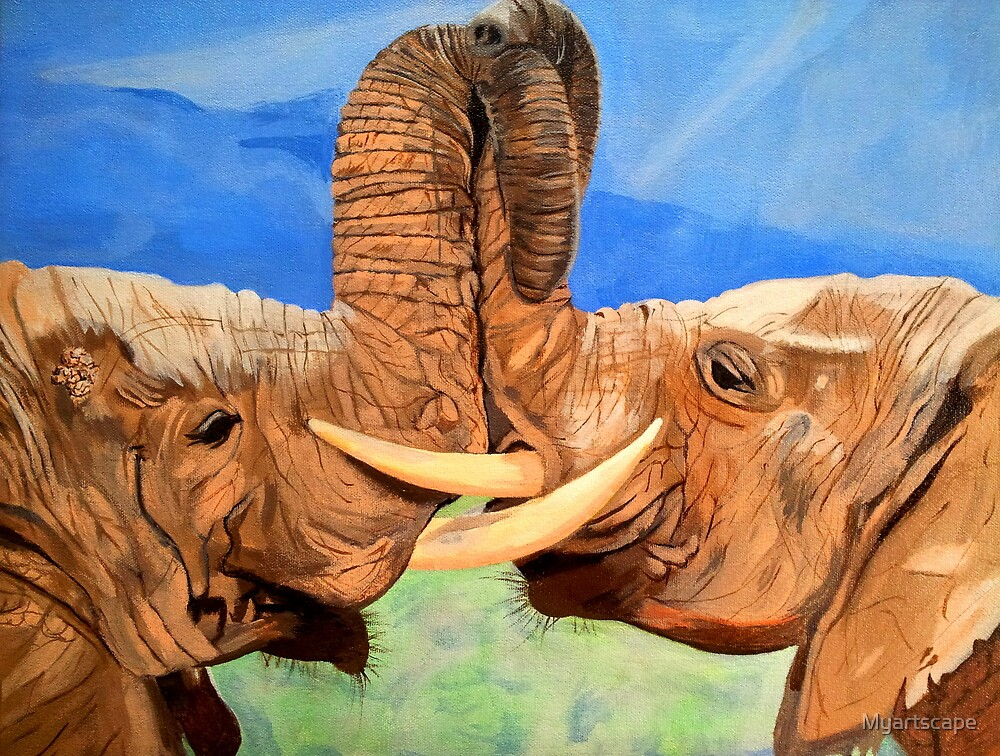 Elephants by Myartscape