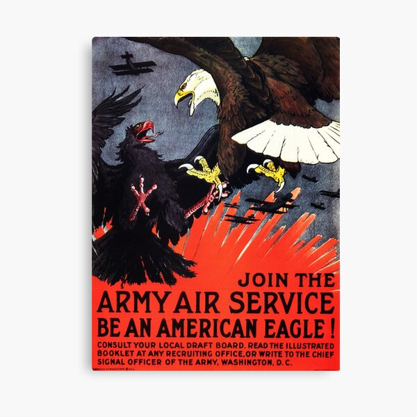 Join The Army Air Service! Be An American Eagle! US Recruitment Drive Propaganda Canvas Print