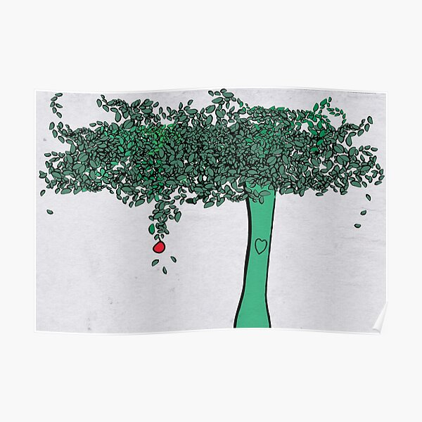 Giving tree grey background  Poster