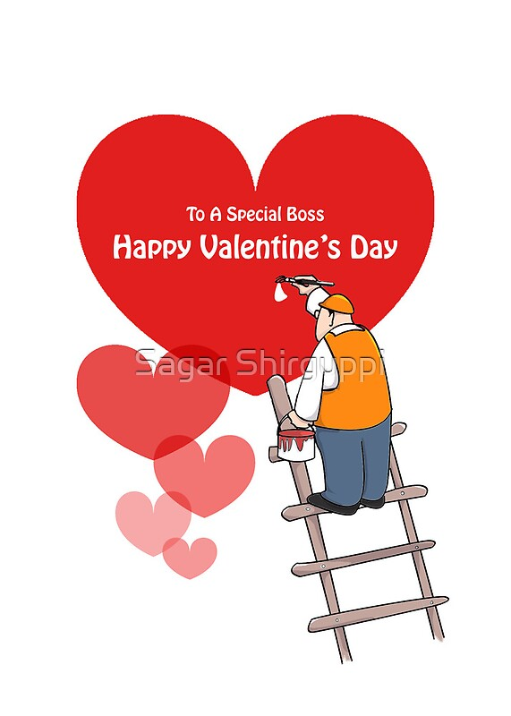 Valentines Day Boss Cards Red Hearts Painter Cartoon Greeting – Cartoon Valentine Cards