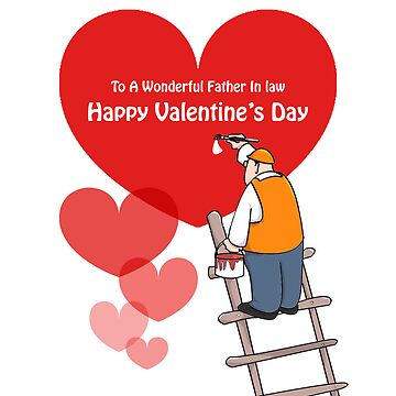 Valentine's Day Father In Law Cards, Red Hearts, Painter Cartoon by shirguppi