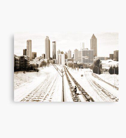 Atlanta Snowpocalypse 2014 - Rick Grimes on Freedom Parkway Metal Print