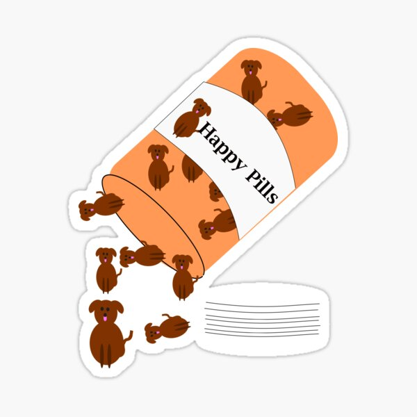 Doggy happy pills Sticker